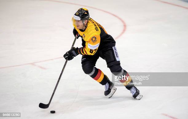 Bernhard Ebner of Germany in action during the international ice hockey friendly match between Germany and Slovakia at Energieverbund Arena on April...
