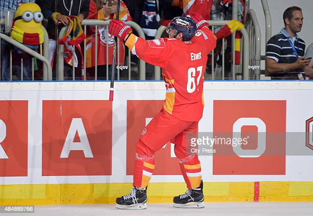 Bernhard Ebner of the Duesseldorfer EG celebrates after scoring the 32 during the game between Duesseldorfer EG and Black Wings Linz on August 22...