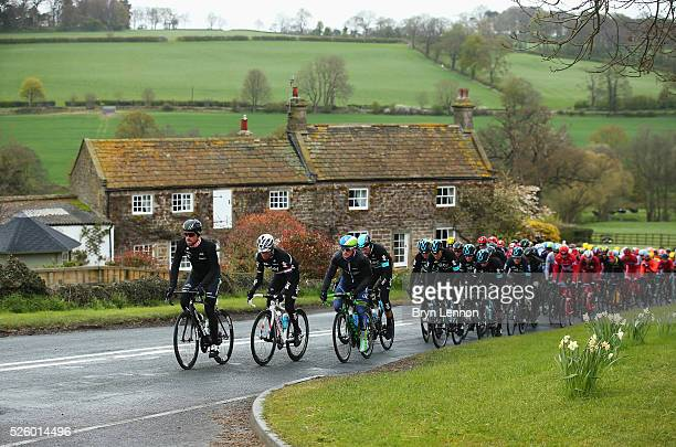 Bernhard Eisel of Team Dimension Data and Austria leads the peloton during the first stage of the 2016 Tour de Yorkshire from Beverley to Settle on...