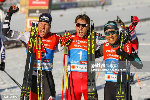 Bernhard Gruber of Austria takes 2nd place Jarl Magnus Riiber of Norway takes 1st place Akito Watabe of Japan takes 3rd place during the FIS Nordic...
