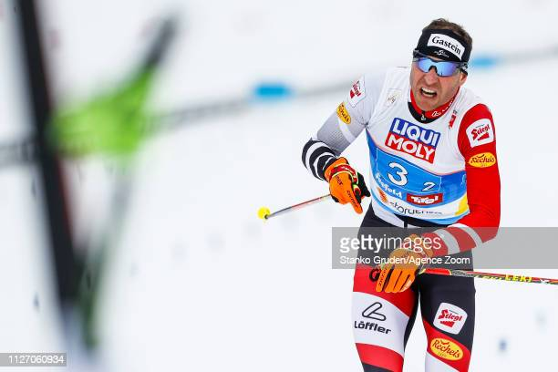 Bernhard Gruber of Austria takes 3rd place during the FIS Nordic World Ski Championships Men's Nordic Combined Team HS130 on February 24, 2019 in...
