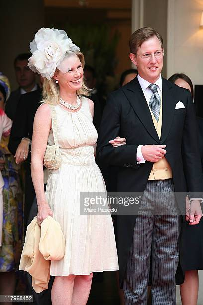 Bernhard, hereditary Prince of Baden and his wife Stephanie Anne Kaul leave the 'Hermitage' hotel to attend the religious ceremony of the Royal...