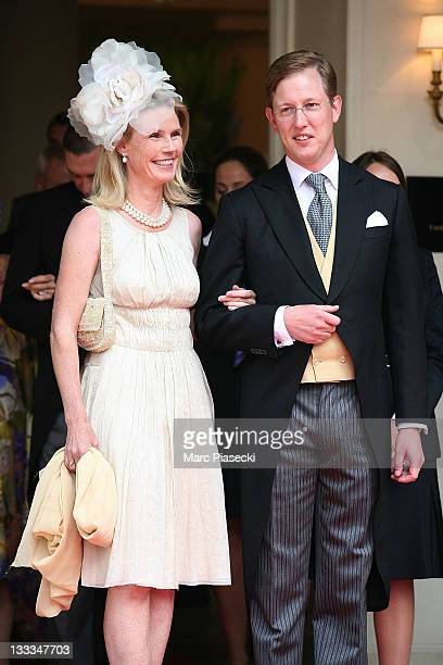 Bernhard, hereditary Prince of Baden and his wife Stephanie Anne Kaul are sighted leaving the 'Hermitage' hotel to attend the Royal Wedding of Prince...