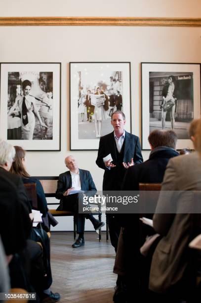 Bernhard Hess Choir Director of the Rias Chamber Choir presenting the designated Head Conductor of the Rias Chamber Choir Justin Doyle during a press...