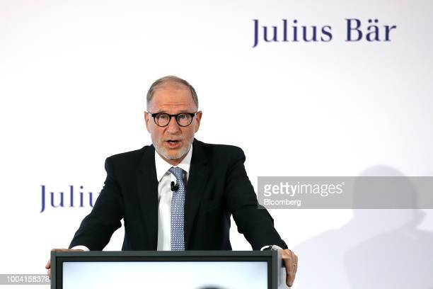 Bernhard Hodler chief executive officer of Julius Baer Group Ltd speaks during a news conference to announce the banks first half results at the...