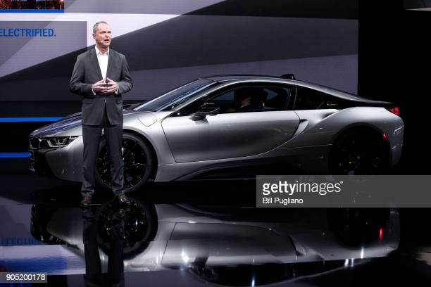 Bernhard Kuhnt President and CEO of BMW America introduces the the new 2019 BMW i8 Coupe at its debut at the 2018 North American International Auto...