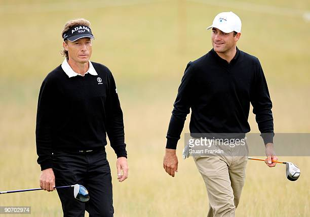 Bernhard Langer and Florian Fritsch of Germany during the final round of The MercedesBenz Championship at The Gut Larchenhof Golf Club on September...