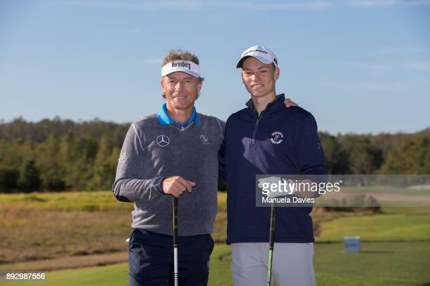 Bernhard Langer and his son Jason of Germany pose for a photo on the 10th tee during the first round of the PNC Father/Son Challenge at The...