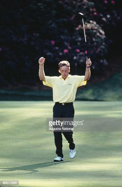 Bernhard Langer Celebrates His Eagle Putt On The 13th Green During The Final Round Of The 1993 Masters Tournament