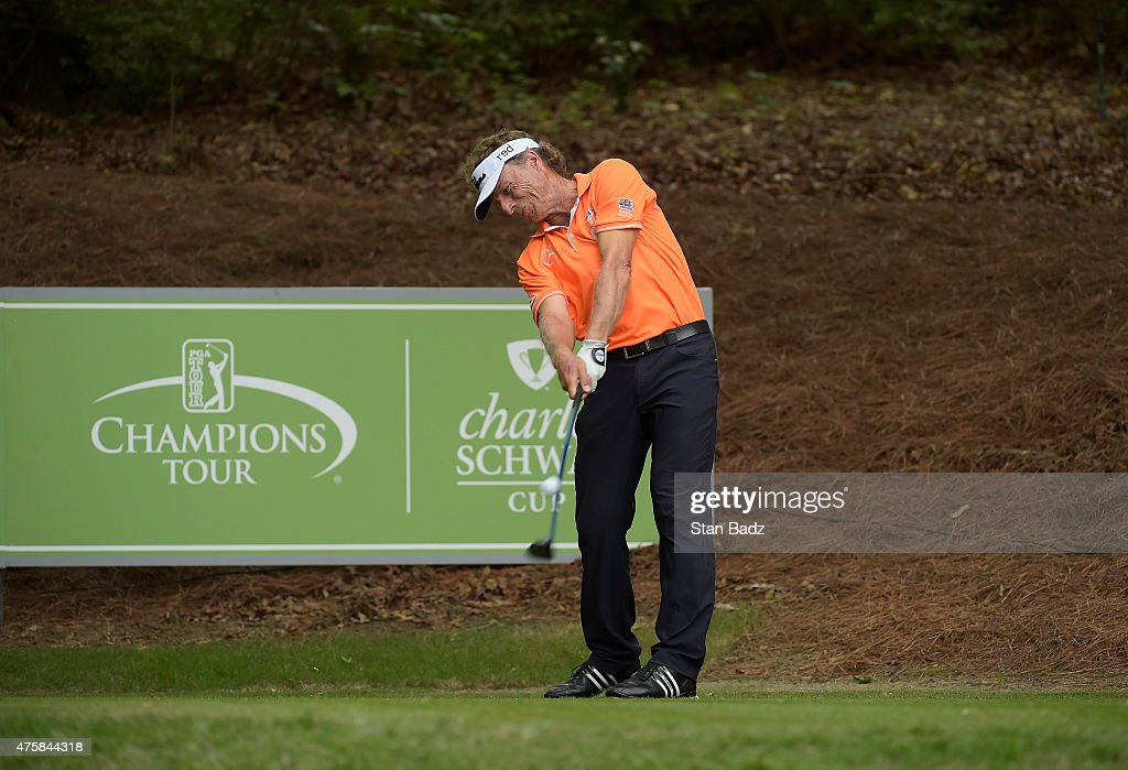 Bernhard Langer hits a drive during the third round of the Champions Tour Regions Tradition at Shoal Creek on May 16, 2015 in Shoal Creek, Alabama.