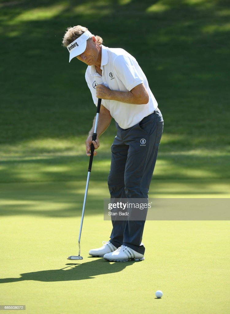 Bernhard Langer hits a putt on the first hole during the second round of the PGA TOUR Champions Regions Tradition at Greystone Golf & Country Club on May 19, 2017 in Birmingham, Alabama.