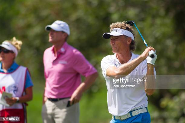 Bernhard Langer hits his tee shot of the 10th hole during the First Round of the 3M Championship at TPC Twin Cities on August 4 2017 in Blaine...