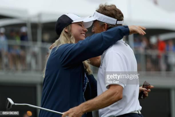 Bernhard Langer hugs his daughter Christina Langer after winning the Senior PGA Championship at Trump National Golf Club on May 28 2017 in Sterling...
