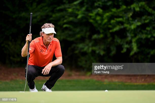 Bernhard Langer lines up a putt on the sixth hole during the second round of the PGA TOUR Champions Regions Tradition at Greystone Golf Country Club...