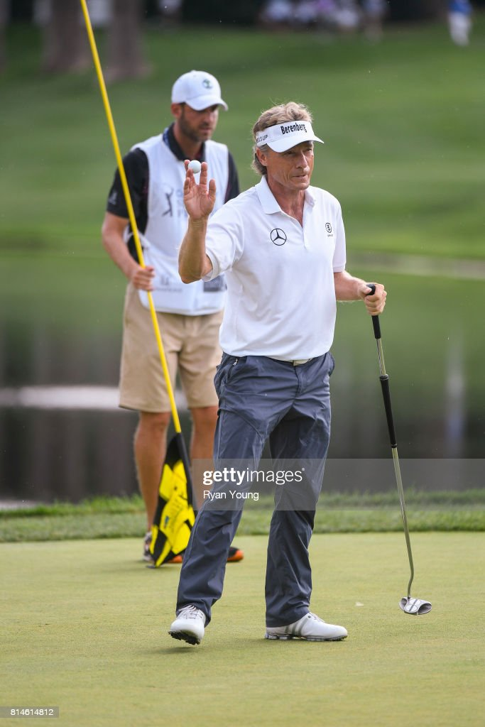 Bernhard Langer of Germany acknowledges the crowd on the 11th green during the second round of the PGA TOUR Champions Constellation SENIOR PLAYERS Championship at Caves Valley Golf Club on July 14, 2017 in Baltimore, Maryland.