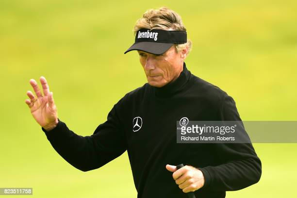 Bernhard Langer of Germany acknowledges the crowd on the 3rd green during the first round of the Senior Open Championship presented by Rolex at Royal...