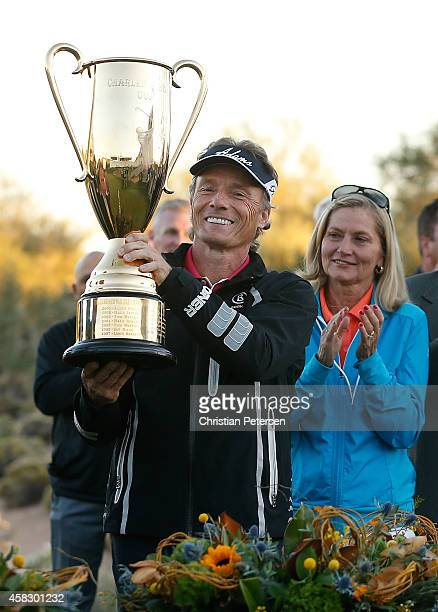 Bernhard Langer of Germany alongside wife Vikki Carol is awarded the Charles Schwab Cup after winning the season championship which concluded in the...