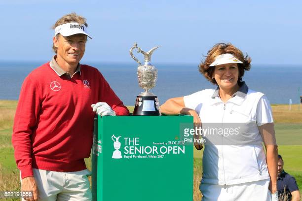 Bernhard Langer of Germany and his playing partner Lynette Federer pose during the ProAm ahead of The Senior Tour Open Championship played at Royal...