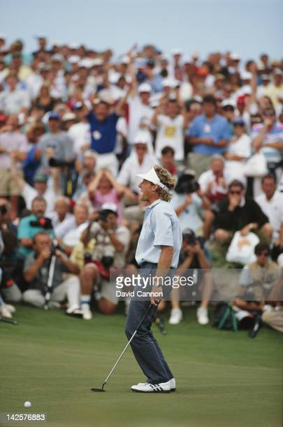Bernhard Langer of Germany and the European team misses a crucial putt on the 18th hole in the final singles match of the 29th Ryder Cup Matches on...
