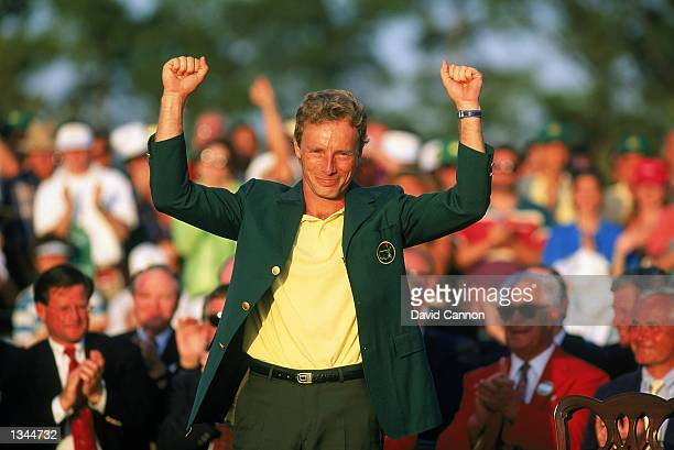 Bernhard Langer of Germany celebrates after receiving the green jacket for winning the US Masters at the Augusta National Golf Club in Augusta...