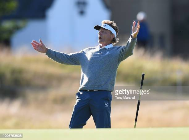 Bernhard Langer of Germany celebrates making a birdie on the 17th green during Day Three of The Senior Open Presented by Rolex at The Old Course on...