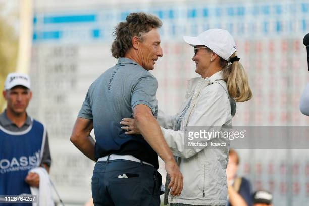 Bernhard Langer of Germany celebrates with his wife Vikki Carol after winning the Oasis Championship at The Old Course at Broken Sound on February 10...