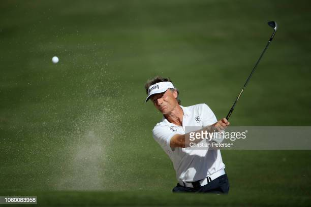 Bernhard Langer of Germany chips from the bunker onto the seventh green during the third round of the Charles Schwab Cup Championship at Phoenix...