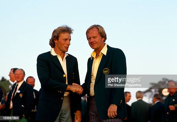 Bernhard Langer of Germany congratulates Jack Nicklaus of the United States for winning the US Masters Golf Tournament held at the Augusta National...