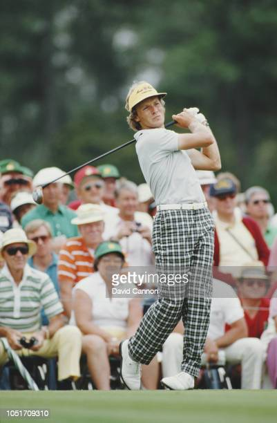 Bernhard Langer of Germany drives off the tee during the US Masters Golf Tournament on 11 April 1986 at the Augusta National Golf Club in Augusta,...