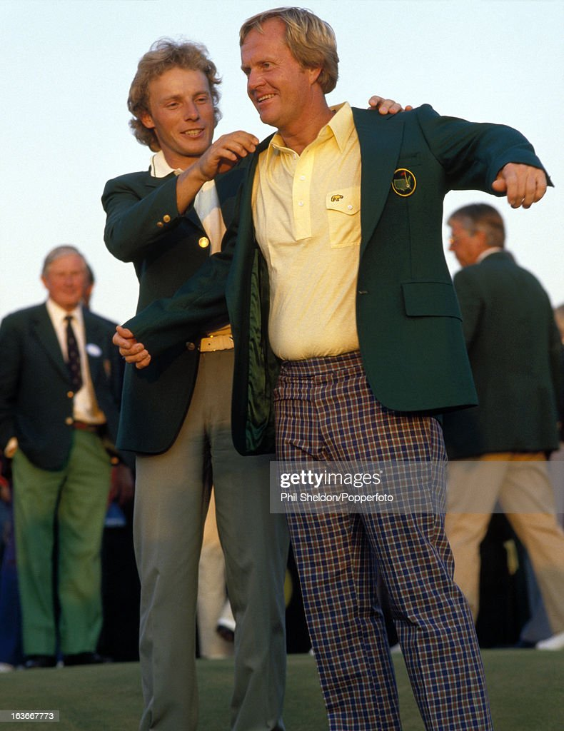 Bernhard Langer Presents Jack Nicklaus With His Green Jacket For Winning The US Masters : News Photo