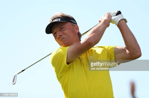 Bernhard Langer of Germany his a shot from the 1st hole during the final round of the Hoag Classic at Newport Beach Country Club on March 8, 2020 in...