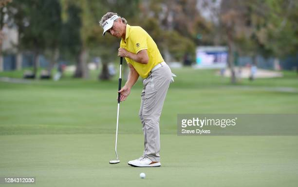 Bernhard Langer of Germany hits his putt on the 12th hole during the first round of the Charles Schwab Cup Championship on November 06, 2020 in...