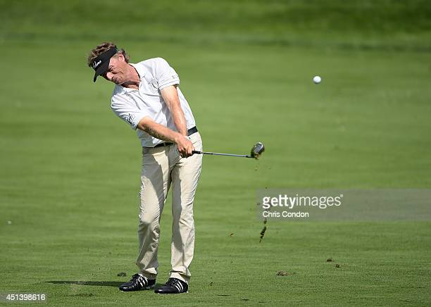 Bernhard Langer of Germany hits his second shot on the 15th hole during the third round of the Constellation SENIOR PLAYERS Championship at Fox...