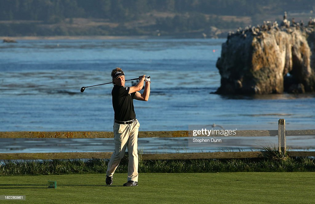 Bernhard Langer of Germany hits his tee shot on the 18th hole durng the second round of the Nature Valley First Tee Open at Pebble Beach at Pebble Beach Golf Links on September 28, 2013 in Pebble Beach, California.