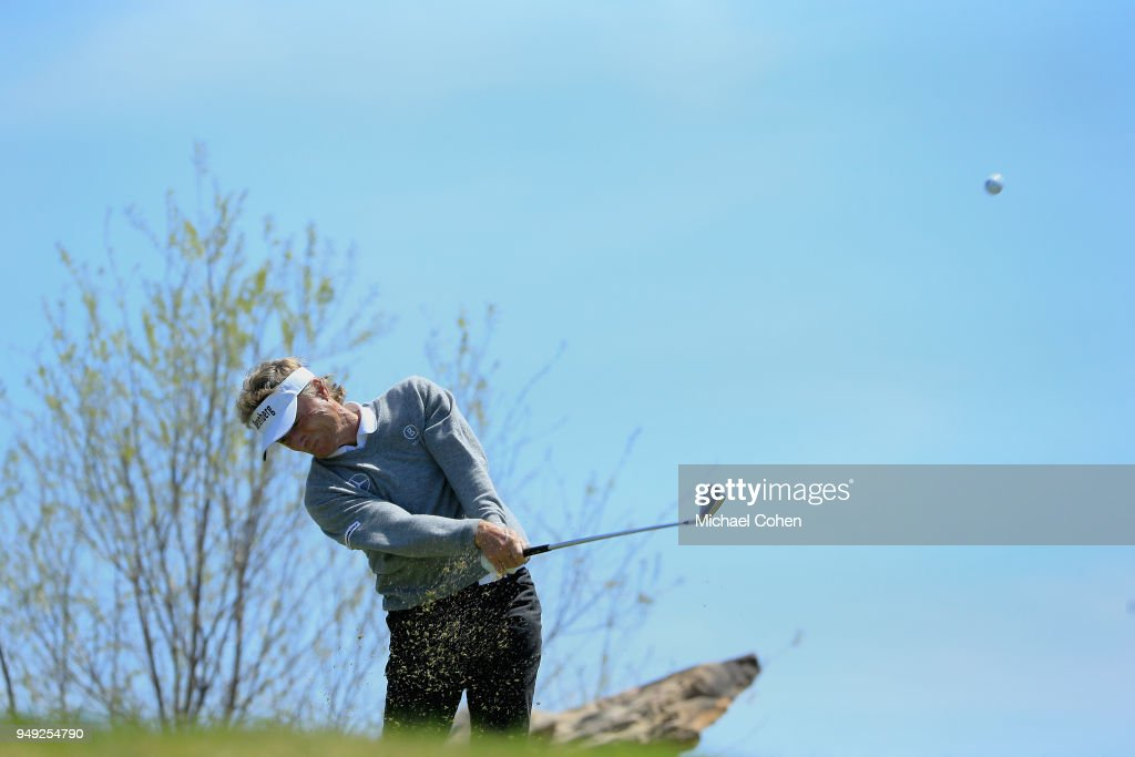 Bernhard Langer of Germany hits his tee shot on the ninth hole during the second round of the PGA TOUR Champions Bass Pro Shops Legends of Golf at Big Cedar Lodge held at Top of the Rock on April 20, 2018 in Ridgedale, Missouri.