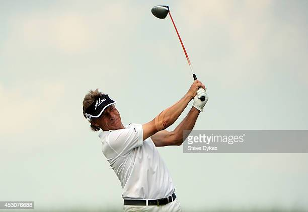 Bernhard Langer of Germany hits his tees shot on the 3rd hole during the second round of the 3M Championship at TPC Twin Cities on August 2 2014 in...