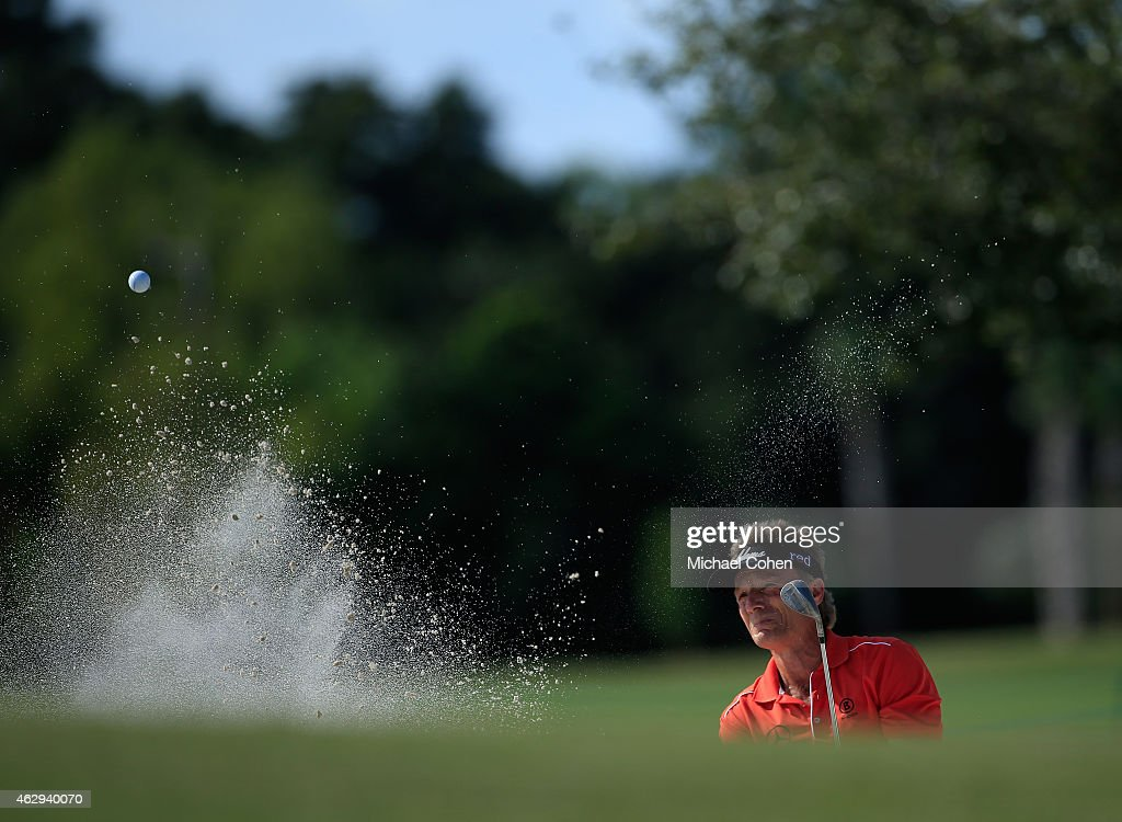 Bernhard Langer of Germany hits his third shot on the 11th hole from a bunker during the second round of the Allianz Championship held at The Old Course at Broken Sound on February 7, 2015 in Boca Raton, Florida.