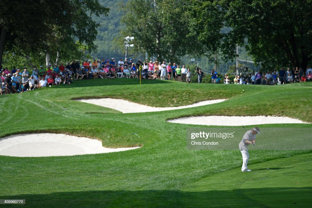 Bernhard Langer of Germany hits to the 8th green during the final round of the PGA TOUR Champions DICK'S Sporting Goods Open at En-Joie Golf Course on August 20, 2017 in Endicott, New York.