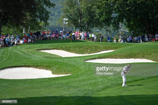 Bernhard Langer of Germany hits to the 8th green during the final round of the PGA TOUR Champions DICK'S Sporting Goods Open at EnJoie Golf Course on...