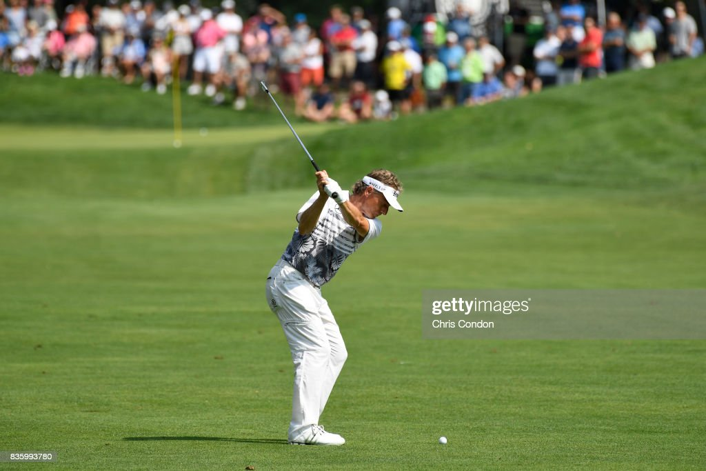 Bernhard Langer of Germany hits to the 9th green during the final round of the PGA TOUR Champions DICK'S Sporting Goods Open at En-Joie Golf Course on August 20, 2017 in Endicott, New York.
