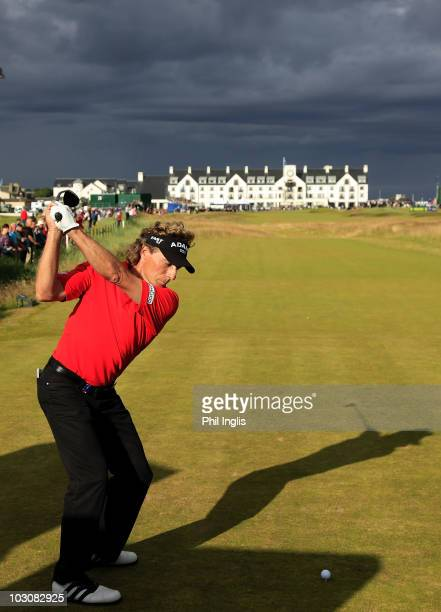 Bernhard Langer of Germany in action during the final round of the Senior Open Championship presented by MasterCard played at Carnoustie on July 25,...