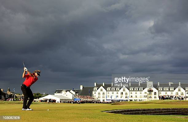 Bernhard Langer of Germany in action during the final round of the Senior Open Championship presented by MasterCard played at Carnoustie on July 25...