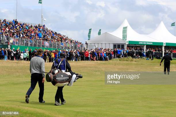 Bernhard Langer of Germany in action during the final round of the Senior Open Championship at Royal Porthcawl Golf Club on July 30 2017 in Bridgend...