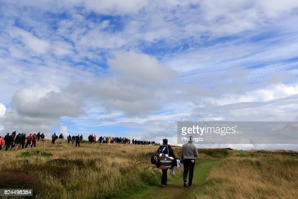 Bernhard Langer of Germany in action during the final round of the Senior Open Championship at Royal Porthcawl Golf Club on July 30, 2017 in...