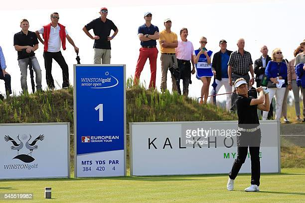 Bernhard Langer of Germany in action during the first round of the WINSTONgolf Senior Open played on the Links Course WINSTONgolf on July 8 2016 in...