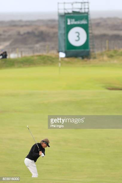 Bernhard Langer of Germany in action during the first round of the Senior Open Championship presented by Rolex at Royal Porthcawl Golf Club on July...