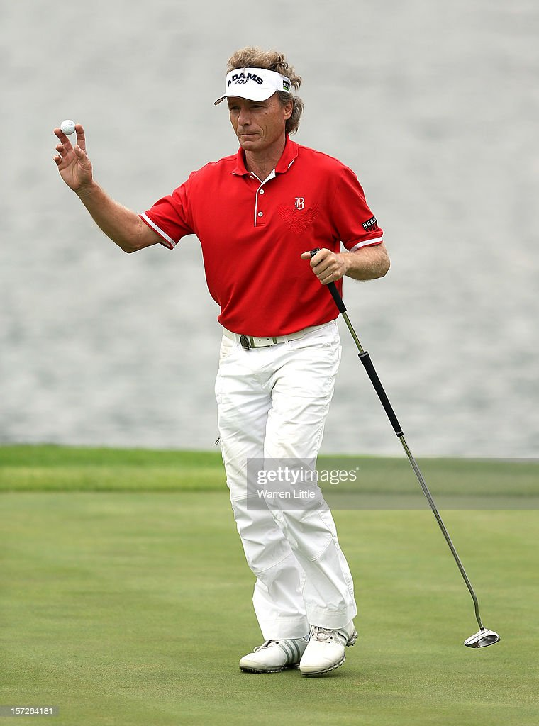 Bernhard Langer of Germany in action during the third round of the Nedbank Champions Challenge at the Gary Player Country Club on December 1, 2012 in Sun City, South Africa.