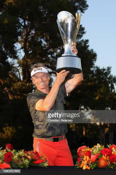 Bernhard Langer of Germany lifts the Charles Schwab Cup after winning the season long overall standings during the Charles Schwab Cup Championship at...