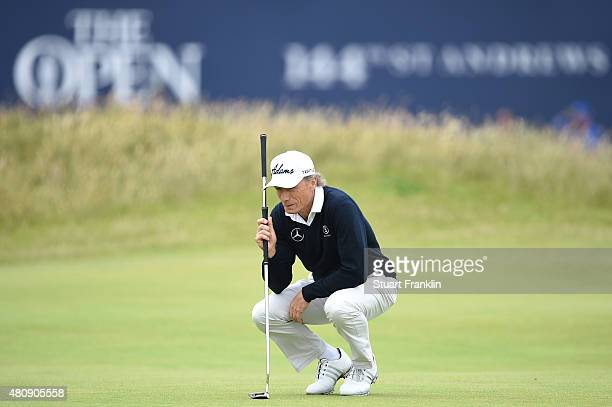 Bernhard Langer of Germany lines up a putt on the 1st green during the first round of the 144th Open Championship at The Old Course on July 16 2015...