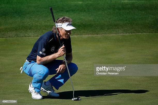 Bernhard Langer of Germany lines up a putt on the second green during the second round of the Charles Schwab Cup Championship on the Cochise Course...